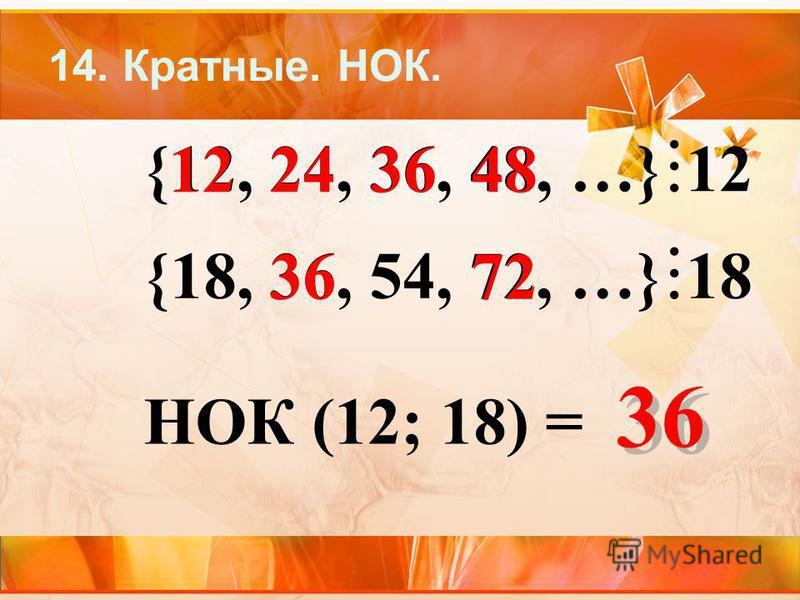14. Кратные. НОК. {12, 24, 36, 48, …} 12 {18, 36, 54, 72, …} 183636 3636 3636 3636 НОК (12; 18) = 122448 72