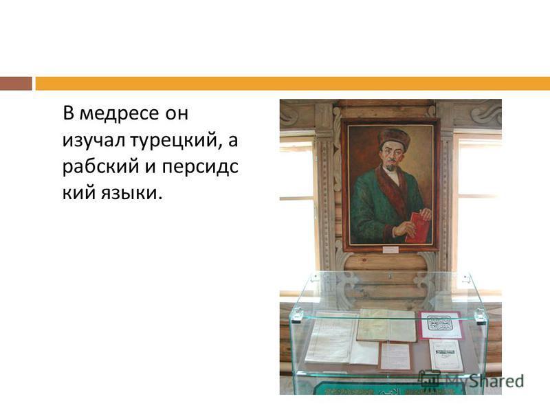 В медресе он изучал турецкий, а рабский и персидский языки.