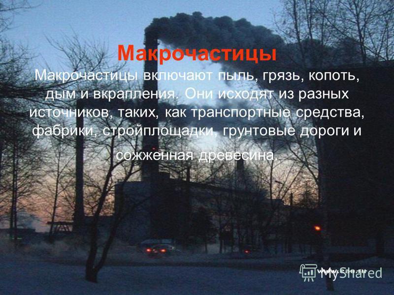 Макрочастицы Макрочастицы включают пыль, грязь, копоть, дым и вкрапления. Они исходят из разных источников, таких, как транспортные средства, фабрики, стройплощадки, грунтовые дороги и сожженная древесина.