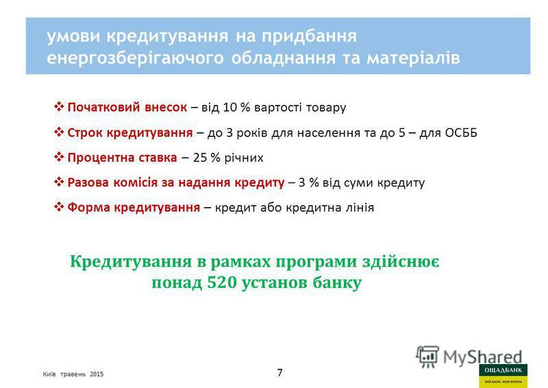 Киев, март 2015 годаСтратегия развития Ощадбанк умови кредитування на придбання енергозберігаючого обладнання та матеріалів Початковий внесок – від 10 % вартості товару Cтрок кредитування – до 3 років для населення та до 5 – для ОСББ Процентна ставка