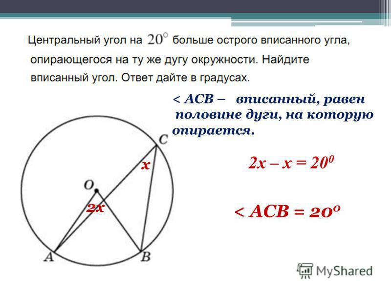 x 2x 2x – x = 20 0 < ACB – вписанный, равен половине дуги, на которую опирается. < ACB = 20 0
