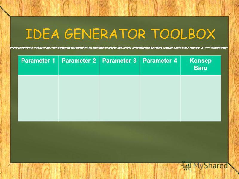IDEA GENERATOR TOOLBOX Parameter 1Parameter 2Parameter 3Parameter 4Konsep Baru