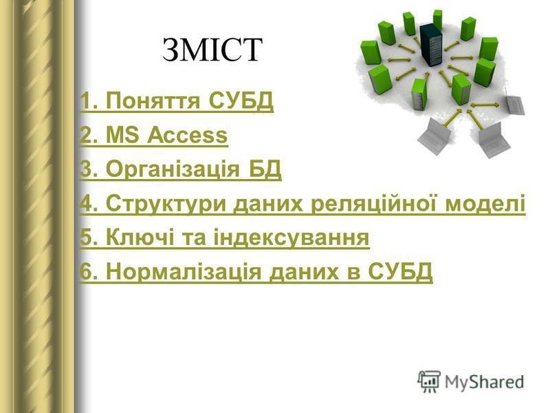 ЗМІСТ 1. Поняття СУБД 2. MS Access 3. Організація БД 4. Структури даних реляційної моделі 5. Ключі та індексування 6. Нормалізація даних в СУБД