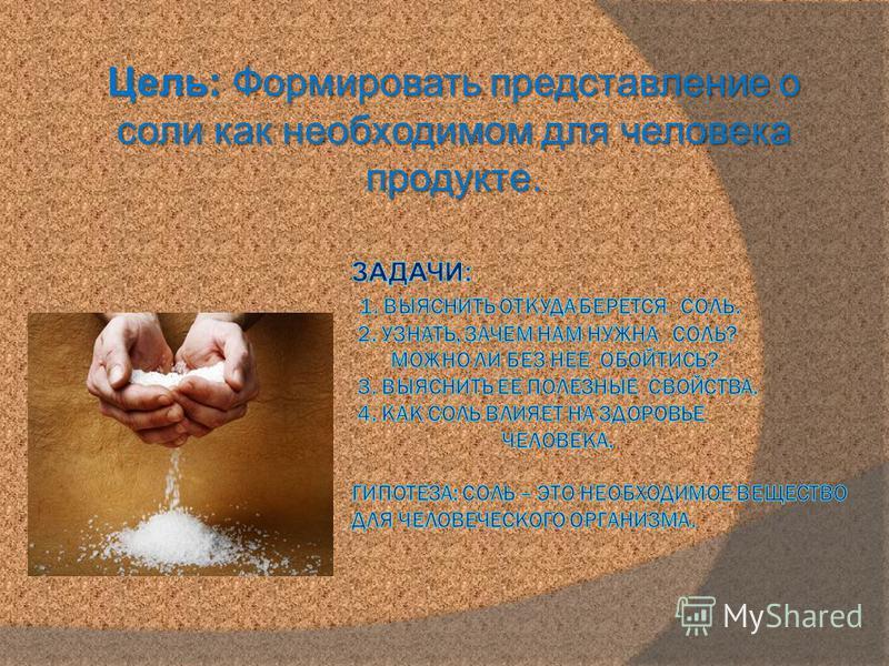 Цель: Формировать представление о соли как необходимом для человека продукте.