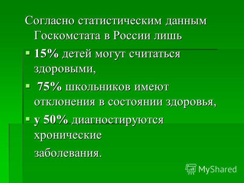 Согласно статистическим данным Госкомстата в России лишь 15% детей могут считаться здоровыми, 15% детей могут считаться здоровыми, 75% школьников имеют отклонения в состоянии здоровья, 75% школьников имеют отклонения в состоянии здоровья, у 50% диагн