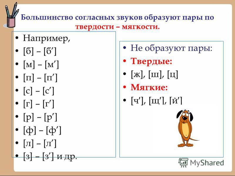 Большинство согласных звуков образуют пары по твердости – мягкости. Например, [б] – [б] [м] – [м] [п] – [п] [с] – [с] [г] – [г] [р] – [р] [ф] – [ф] [л] – [л] [з] – [з] и др. Не образуют пары: Твердые: [ж], [ш], [ц] Мягкие: [ч], [щ], [й]