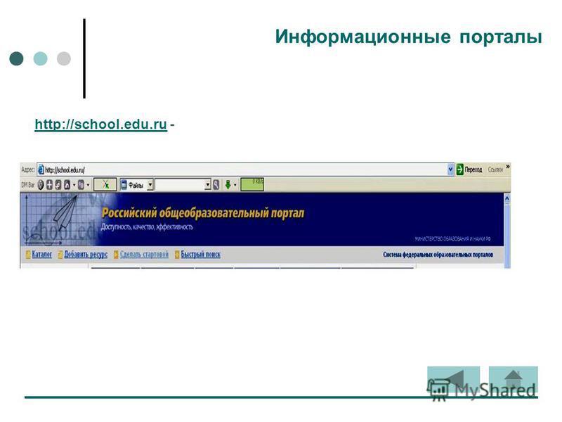 Информационные порталы http://school.edu.ruhttp://school.edu.ru -