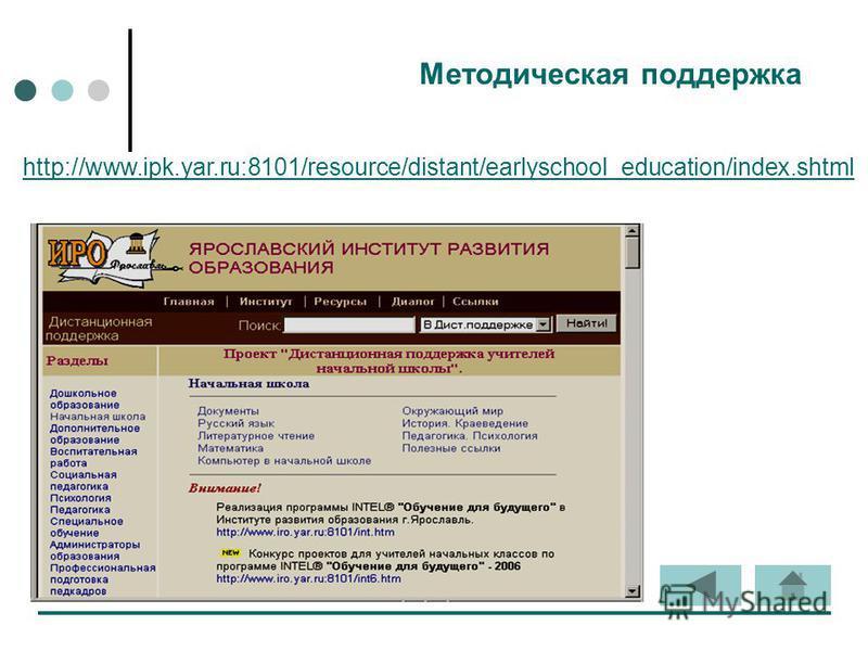 Методическая поддержка http://www.ipk.yar.ru:8101/resource/distant/earlyschool_education/index.shtml
