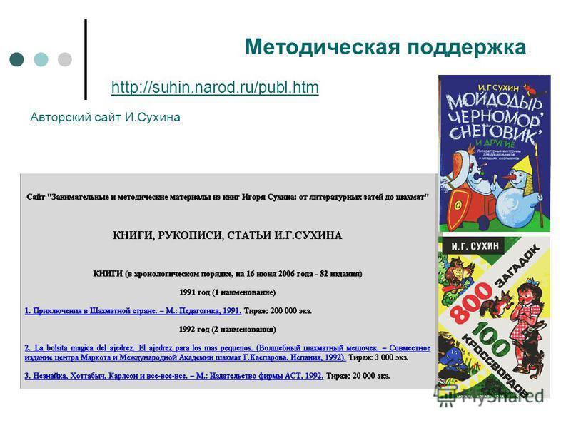 http://suhin.narod.ru/publ.htm Методическая поддержка Авторский сайт И.Сухина