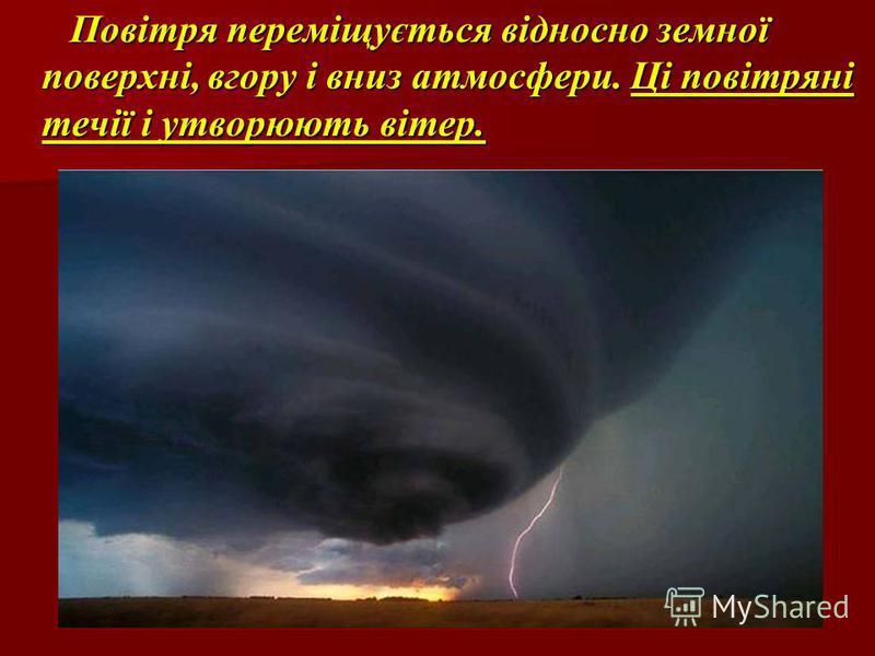 Повітря переміщується відносно земної поверхні, вгору і вниз атмосфери. Ці повітряні течії і утворюють вітер. Повітря переміщується відносно земної поверхні, вгору і вниз атмосфери. Ці повітряні течії і утворюють вітер.