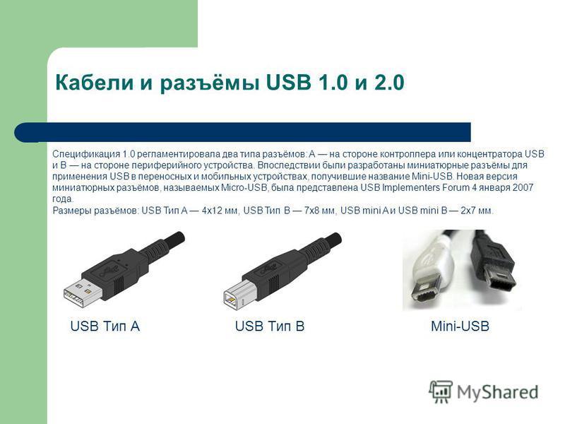 Кабели и разъёмы USB 1.0 и 2.0 Спецификация 1.0 регламентировала два типа разъёмов: A на стороне контроллера или концентратора USB и B на стороне периферийного устройства. Впоследствии были разрапотаны миниатюрные разъёмы для применения USB в перенос