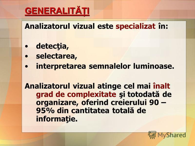 GENERALITĂŢI Analizatorul vizual este specializat în: detecţia, selectarea, interpretarea semnalelor luminoase. Analizatorul vizual atinge cel mai înalt grad de complexitate şi totodată de organizare, oferind creierului 90 – 95% din cantitatea totală