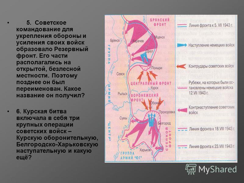 5. Советское командование для укрепления обороны и усиления своих войск образовало Резервный фронт. Его части располагались на открытой, безлесной местности. Поэтому позднее он был переименован. Какое название он получил? 6. Курская битва включала в