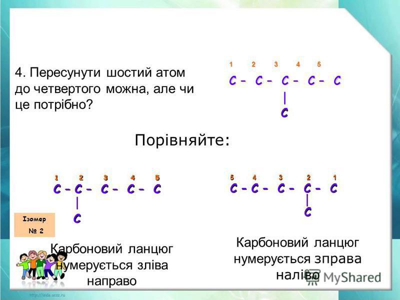 4. Пересунути шостий атом до четвертого можна, але чи це потрібно? 1 2 3 4 5 С – С – С – С – С С Порівняйте: 1 2 3 4 5 С – С – С – С – С С С Карбоновий ланцюг нумерується зліва направо 5 4 3 2 1 5 4 3 2 1 С – С – С – С – С С С Карбоновий ланцюг нумер