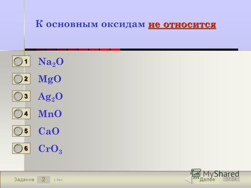 2 07:54 Задание не относится К основным оксидам не относится Na 2 O MgO Ag 2 O MnO Далее CaO CrO 3 1 бал. 1111 0 2222 0 3333 0 4444 0 5555 0 6666 0