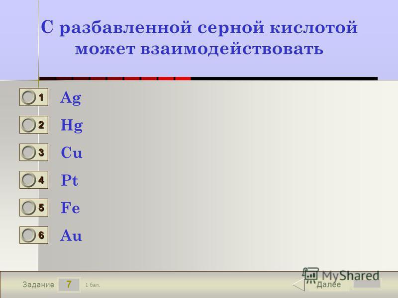 7 Задание C разбавленной серной кислотой может взаимодействовать Ag Hg Cu Pt Далее Fe Au 1 бал. 1111 0 2222 0 3333 0 4444 0 5555 0 6666 0