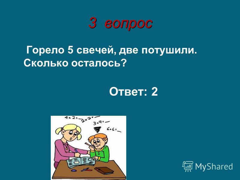 3 вопрос Горело 5 свечей, две потушили. Сколько осталось? Ответ: 2