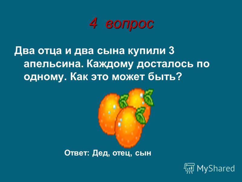 4 вопрос Два отца и два сына купили 3 апельсина. Каждому досталось по одному. Как это может быть? Ответ: Дед, отец, сын