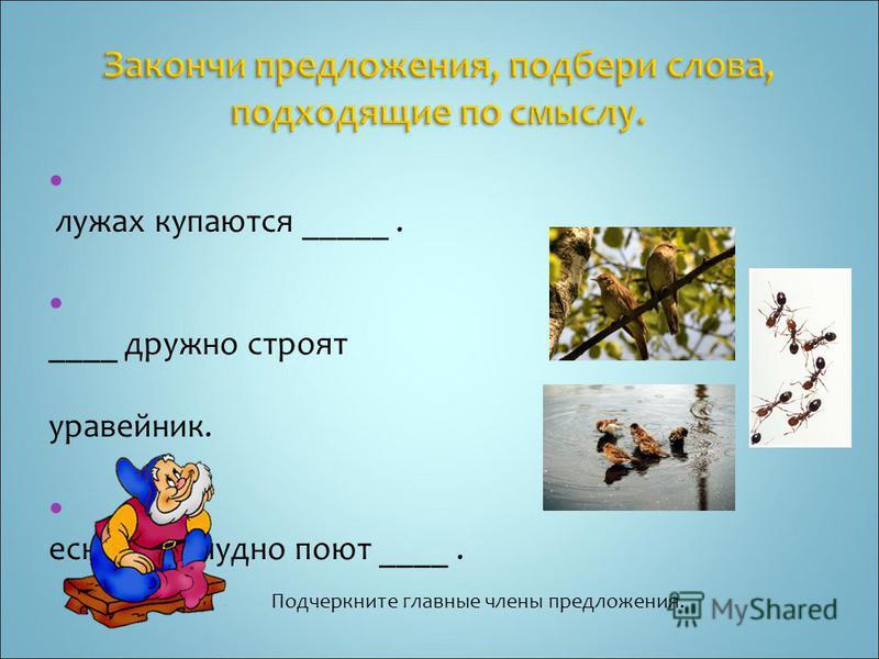 В лужах купаются _____. _ ____ дружно строят муравейник. В есной так чудно поют ____. Подчеркните главные члены предложения.