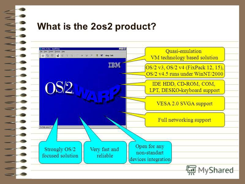 What is the 2os2 product? Quasi-emulation VM technology based solution OS/2 v3, OS/2 v4 (FixPack 12, 15), OS/2 v4.5 runs under WinNT/2000 Strongly OS/2 focused solution IDE HDD, CD-ROM, COM, LPT, DESKO-keyboard support VESA 2.0 SVGA support Full netw