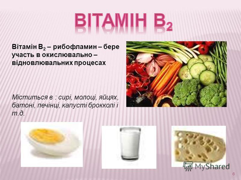 6 Вітамін В 2 – рибoфламин – бере участь в окислювально – відновлювальних процесах Міститься в : сирі, молоці, яйцях, батоні, печінці, капусті брокколі і т.д.