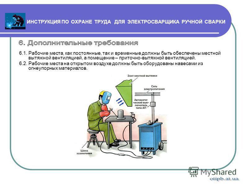 Инструкции по охране труда электросварщика ручной сварки