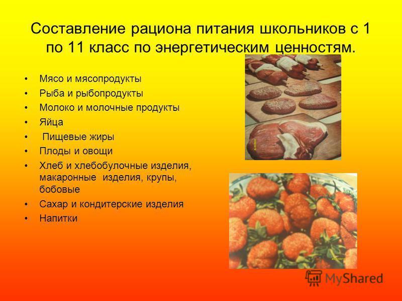 Составление рациона питания школьников с 1 по 11 класс по энергетическим ценностям. Мясо и мясопродукты Рыба и рыбопродукты Молоко и молочные продукты Яйца Пищевые жиры Плоды и овощи Хлеб и хлебобулочные изделия, макаронные изделия, крупы, бобовые Са