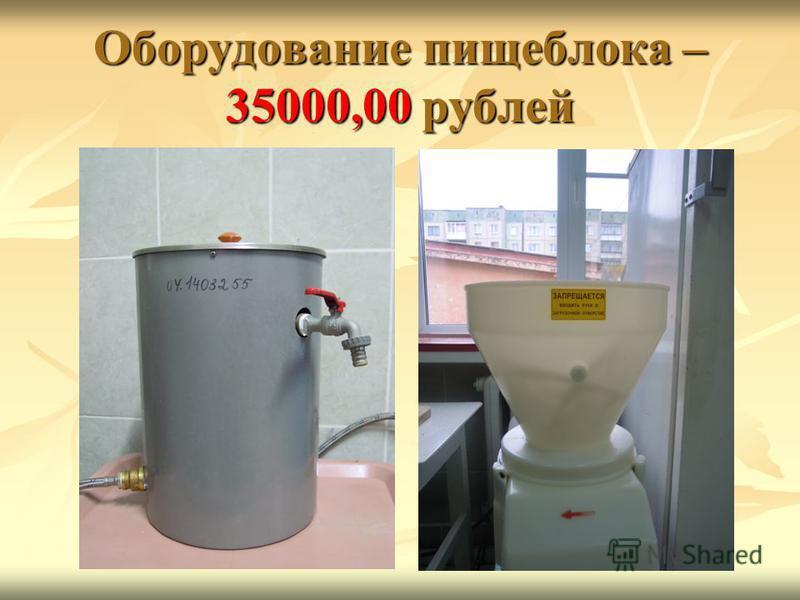 Оборудование пищеблока – 35000,00 рублей