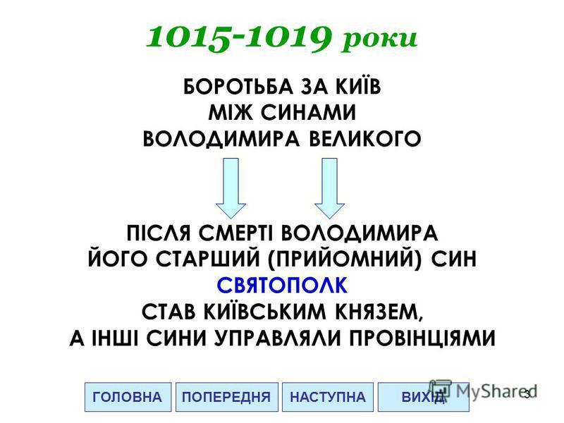 3 ГОЛОВНАНАСТУПНАВИХІД 1015-1019 роки БОРОТЬБА ЗА КИЇВ МІЖ СИНАМИ ВОЛОДИМИРА ВЕЛИКОГО ПІСЛЯ СМЕРТІ ВОЛОДИМИРА ЙОГО СТАРШИЙ (ПРИЙОМНИЙ) СИН СВЯТОПОЛК СТАВ КИЇВСЬКИМ КНЯЗЕМ, А ІНШІ СИНИ УПРАВЛЯЛИ ПРОВІНЦІЯМИ ПОПЕРЕДНЯ