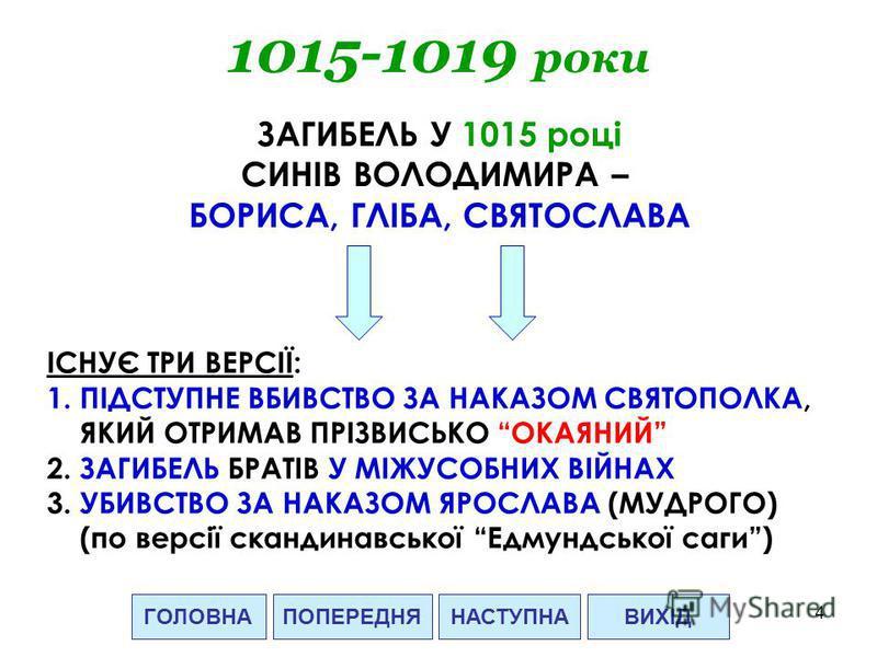 4 ГОЛОВНАНАСТУПНАВИХІДПОПЕРЕДНЯ 1015-1019 роки ЗАГИБЕЛЬ У 1015 році СИНІВ ВОЛОДИМИРА – БОРИСА, ГЛІБА, СВЯТОСЛАВА ІСНУЄ ТРИ ВЕРСІЇ: 1.ПІДСТУПНЕ ВБИВСТВО ЗА НАКАЗОМ СВЯТОПОЛКА, ЯКИЙ ОТРИМАВ ПРІЗВИСЬКО ОКАЯНИЙ 2. ЗАГИБЕЛЬ БРАТІВ У МІЖУСОБНИХ ВІЙНАХ 3. У