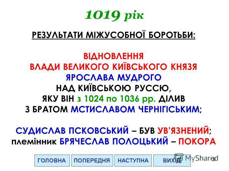 8 1019 рік ГОЛОВНАВИХІДПОПЕРЕДНЯ РЕЗУЛЬТАТИ МІЖУСОБНОЇ БОРОТЬБИ: ВІДНОВЛЕННЯ ВЛАДИ ВЕЛИКОГО КИЇВСЬКОГО КНЯЗЯ ЯРОСЛАВА МУДРОГО НАД КИЇВСЬКОЮ РУССЮ, ЯКУ ВІН з 1024 по 1036 рр. ДІЛИВ З БРАТОМ МСТИСЛАВОМ ЧЕРНІГІСЬКИМ; СУДИСЛАВ ПСКОВСЬКИЙ – БУВ УВЯЗНЕНИЙ;
