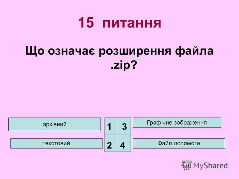 15 питання Що означає розширення файла.zip? архівний текстовий Графічне зображення Файл допомоги 1 24 3
