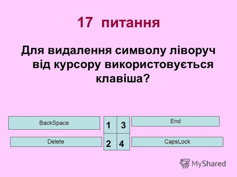 17 питання Для видалення символу ліворуч від курсору використовується клавіша? BackSpace Delete End CapsLock 1 24 3