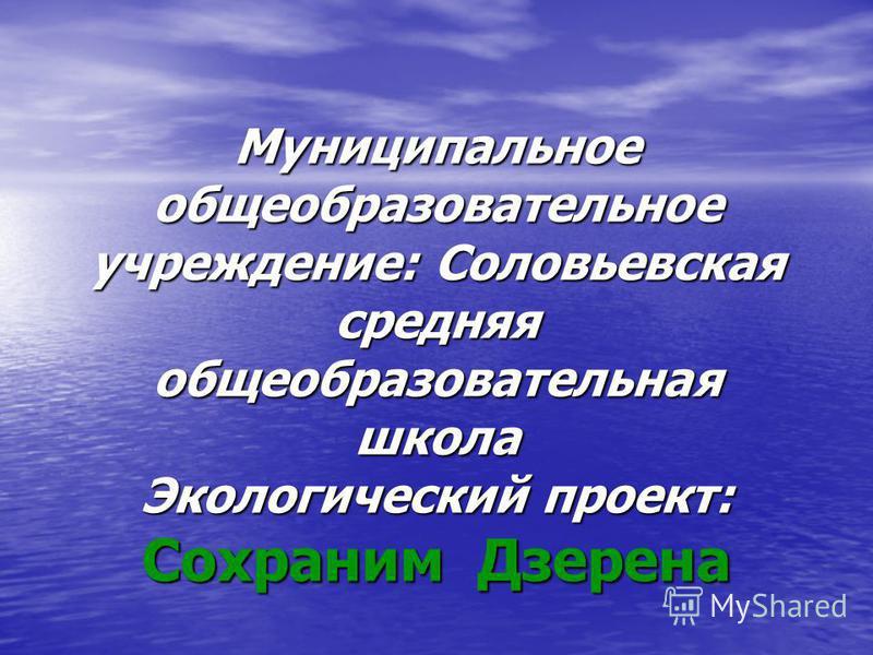 Муниципальное общеобразовательное учреждение: Соловьевская средняя общеобразовательная школа Экологический проект: Сохраним Дзерена