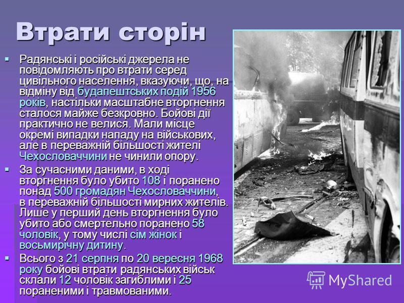 Втрати сторін Радянські і російські джерела не повідомляють про втрати серед цивільного населення, вказуючи, що, на відміну від будапештських подій 1956 років, настільки масштабне вторгнення сталося майже безкровно. Бойові дії практично не велися. Ма