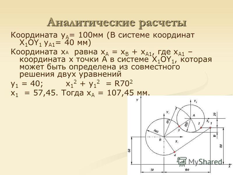 Аналитические расчеты Координата y А = 100 мм (В системе координат Х 1 ОY 1 y А1 = 40 мм) Координата x А равна x А = x В + x А1, где x А1 – координата х точки А в системе Х 1 ОY 1, которая может быть определена из совместного решения двух уравнений y