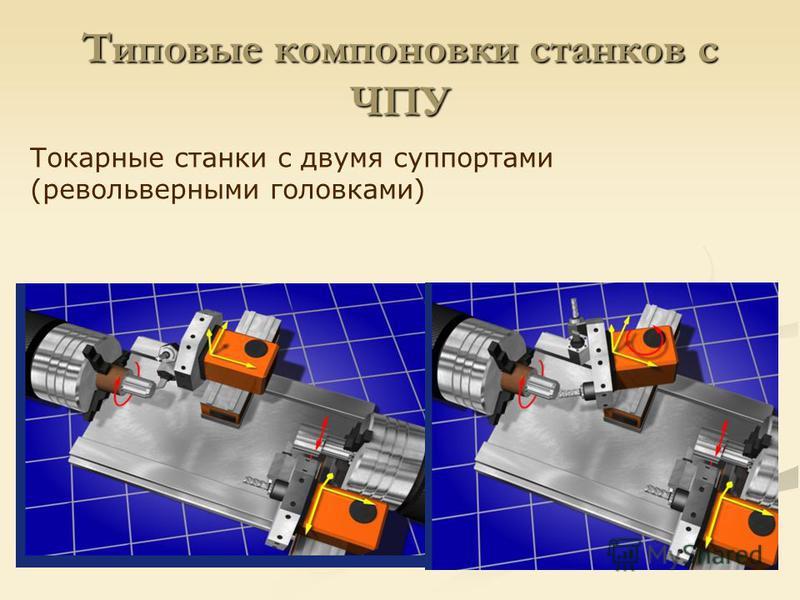 Типовые компоновки станков с ЧПУ Токарные станки с двумя суппортами (револьверными головками)