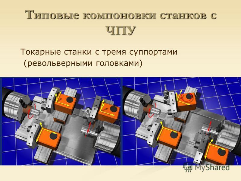 Типовые компоновки станков с ЧПУ Токарные станки с тремя суппортами (револьверными головками)