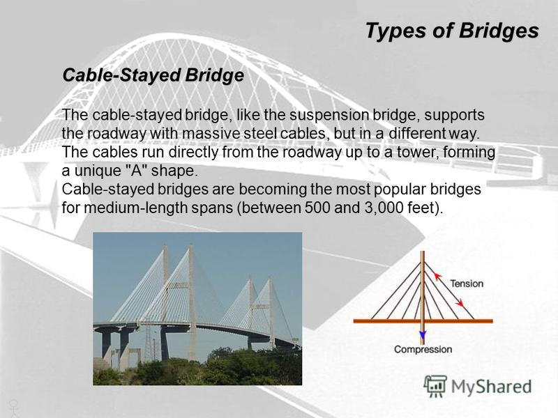 The cable-stayed bridge, like the suspension bridge, supports the roadway with massive steel cables, but in a different way. The cables run directly from the roadway up to a tower, forming a unique