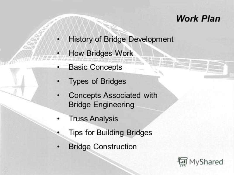 History of Bridge Development How Bridges Work Basic Concepts Types of Bridges Concepts Associated with Bridge Engineering Truss Analysis Tips for Building Bridges Bridge Construction Work Plan