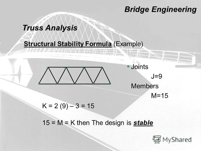 Truss Analysis Bridge Engineering Structural Stability Formula (Example) Joints J=9 Members M=15 K = 2 (9) – 3 = 15 15 = M = K then The design is stable