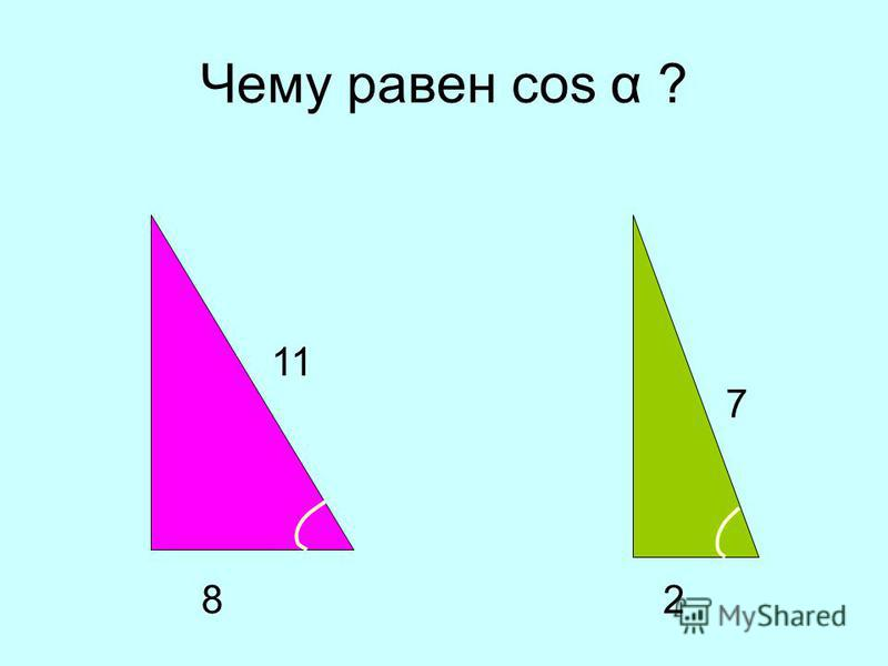 Чему равен cos α ? 2 7 8 11