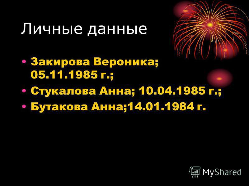 Личные данные Закирова Вероника; 05.11.1985 г.; Стукалова Анна; 10.04.1985 г.; Бутакова Анна;14.01.1984 г.