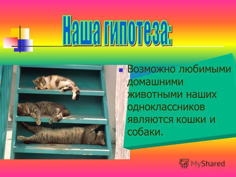 Возможно любимыми домашними животными наших одноклассников являются кошки и собаки.