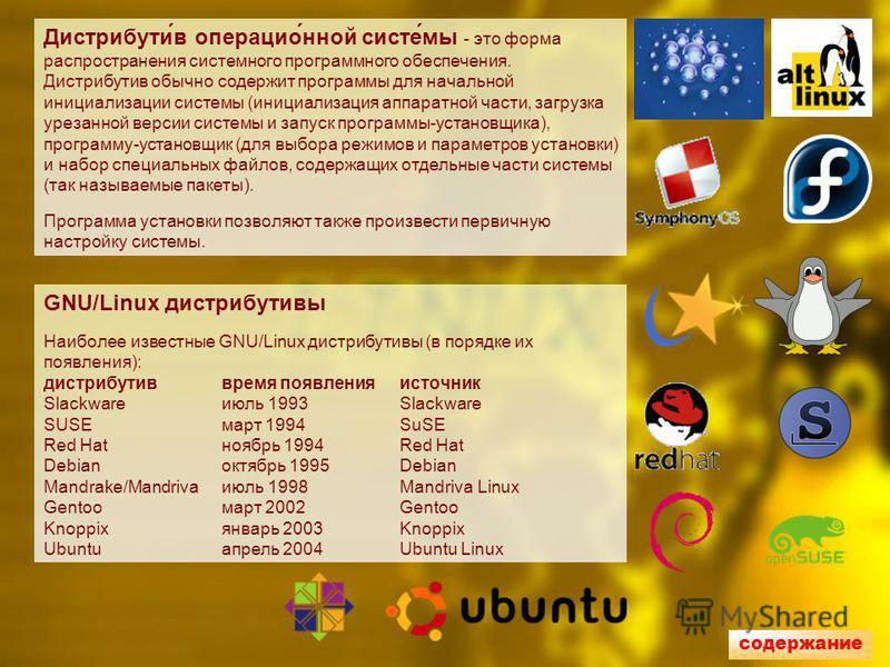 Дистрибути́в операцио́нной систе́мы - это форма распространения системного программного обеспечения. Дистрибутив обычно содержит программы для начальной инициализации системы (инициализация аппаратной части, загрузка урезанной версии системы и запуск