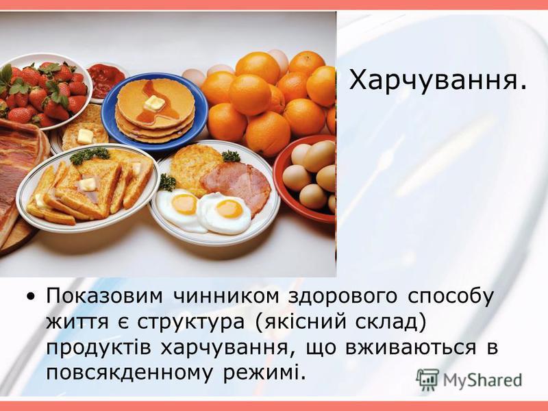 Харчування. Показовим чинником здорового способу життя є структура (якісний склад) продуктів харчування, що вживаються в повсякденному режимі.