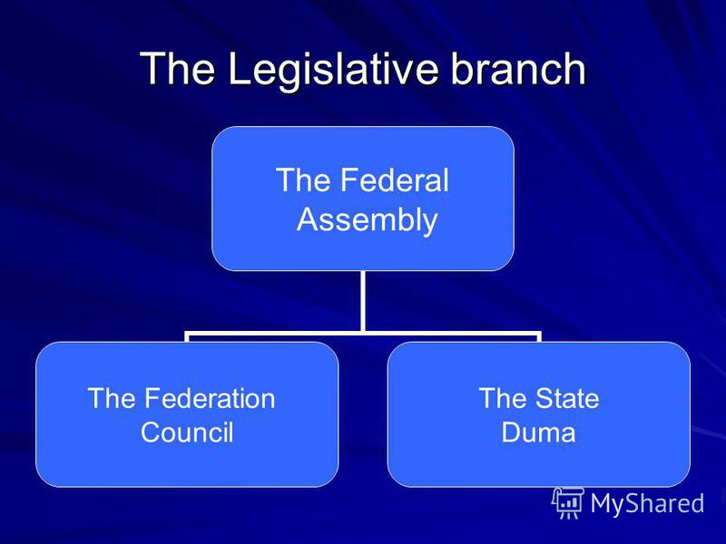 The Legislative branch The Federal Assembly The Federation Council The State Duma