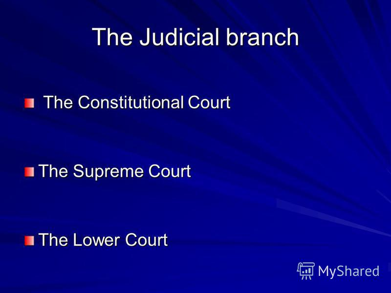 The Judicial branch The Constitutional Court The Supreme Court The Lower Court