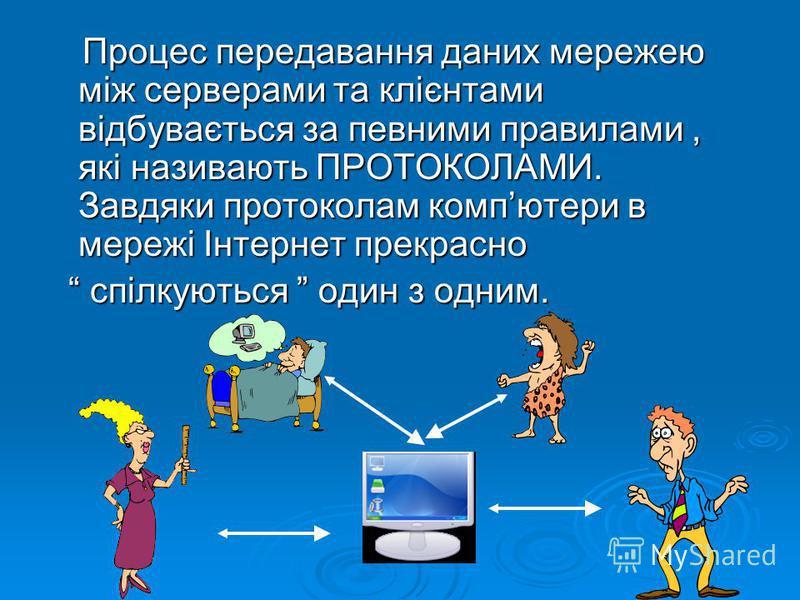 Процес передавання даних мережею між серверами та клієнтами відбувається за певними правилами, які називають ПРОТОКОЛАМИ. Завдяки протоколам компютери в мережі Інтернет прекрасно Процес передавання даних мережею між серверами та клієнтами відбуваєтьс