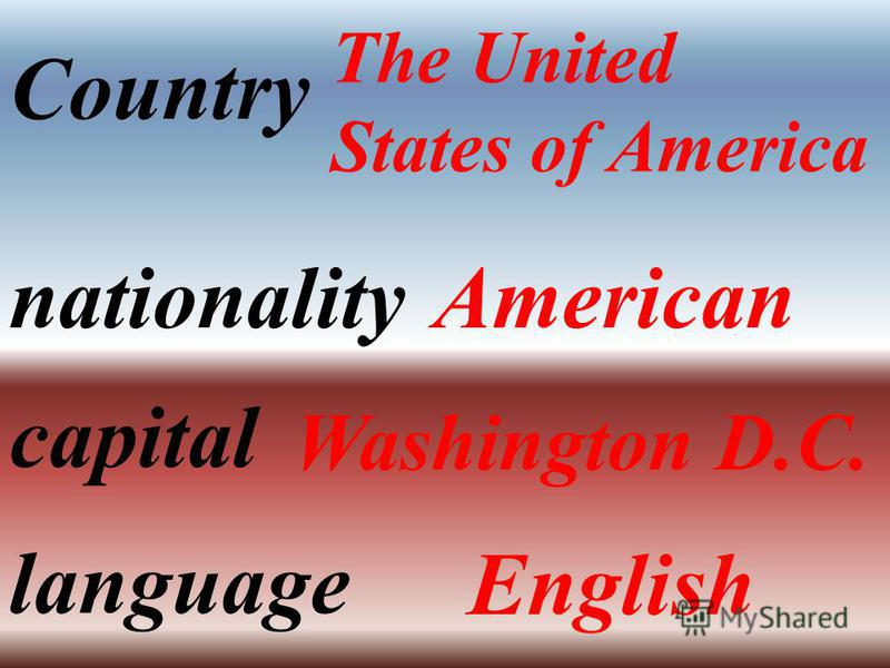 Country The United States of America nationalityAmerican capital Washington D.C. language English